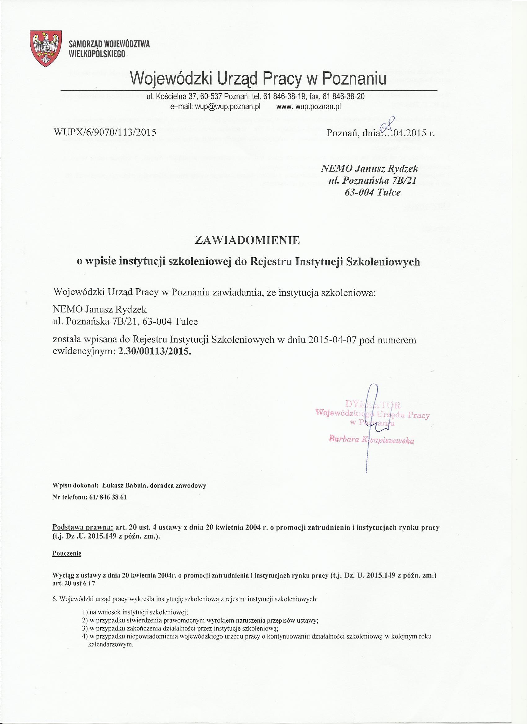 Wpis do ewidencji instytucji szkoleniowych 2015